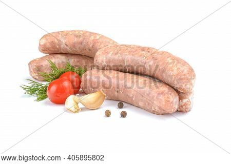 Raw Pork Sausages. Grilled Sausages, Close-up, Isolated On A White Background.selective Focus.
