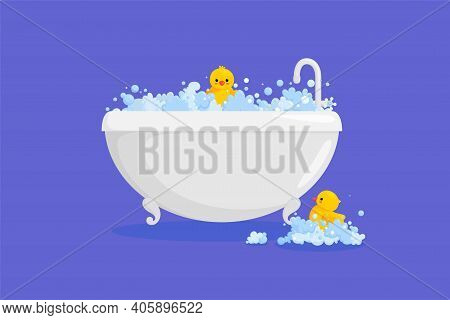 Bathtub With Rubber Duck In Suds. Yellow Duck In Bubbles And Foam Isolated In Violet Background. Vec