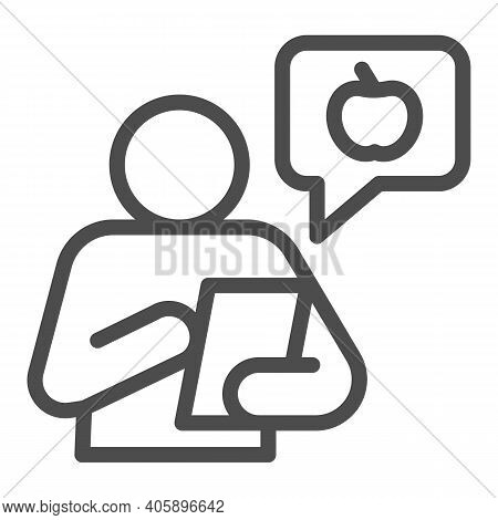 Healthy Food Consultant With Smartphone Line Icon, Diet Concept, Chat With Fruit Logo And Person Sig