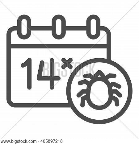 Calendar And Parasite Insect Line Icon, Pest Control Concept, World Pest Control Awareness Day Sign