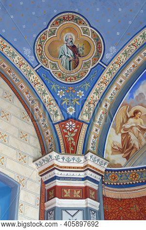 ZABOK, CROATIA - JULY 06, 2013: Saint Luke the Evangelist, fresco in the parish church of Saint Helena in Zabok, Croatia