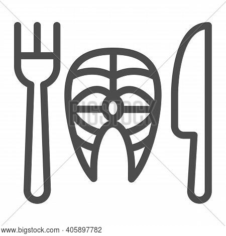 Fork With Knife And Fish Line Icon, Diet Concept, Healthy Dish Sign On White Background, Fish Dish W