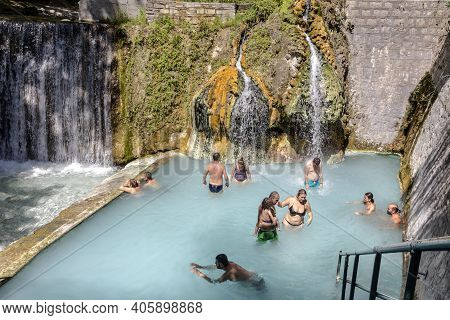 Pozar Thermal Baths In Central Macedonia, Greece. 08/28/2020. The Ancient, Known, Municipal, Thermal