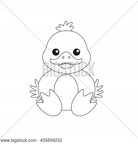 Children's Drawing Of A Duckling For Themed Decoration, Children's Coloring Book And Scrapbooking. E