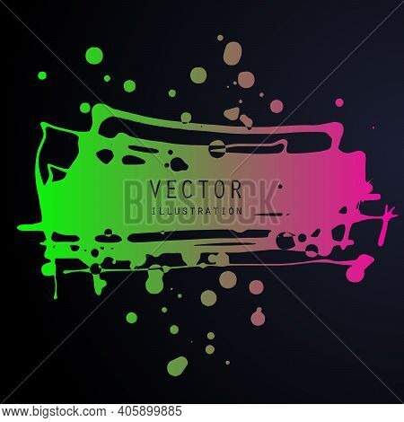 Vector Splats Splashes And Blobs Of Gradient Ink Paint In Different Shapes Drips Isolated On Black