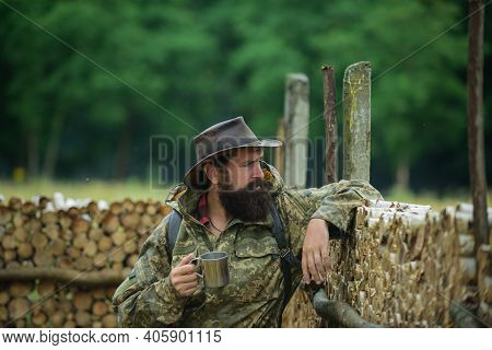 Brutal Male Poacher. Man Adventures. Hunting Season. Animal Hunt. Beard Guy Hiking With Backpack. Ma