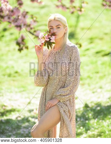 Spring Girls Fashion. Outdoor Portrait Of Young Beautiful Fashionable Woman Posing Near Flowering Sa