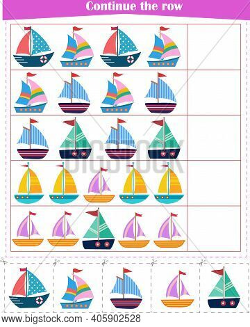 Logic Game For Children. Continue With The Row Of Boats. Worksheet