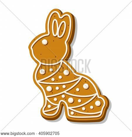 Cute Easter Rabbit Cookie. Gingerbread With Polka Dots Pastel Glaze Isolated On White Background. A