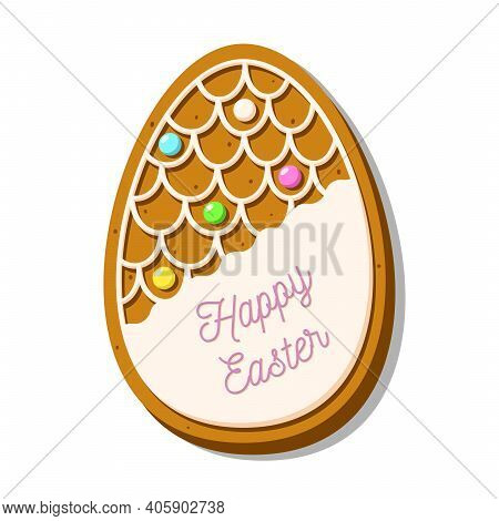 Cute Easter Egg-shaped Cookies. Gingerbread With Glaze Isolated On White Background. A Holiday Of Re