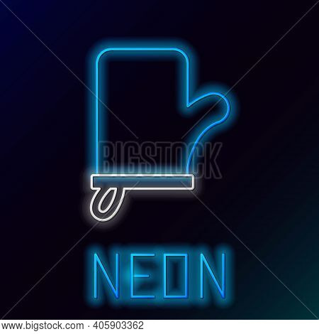 Glowing Neon Line Sauna Mittens Icon Isolated On Black Background. Mitten For Spa. Colorful Outline