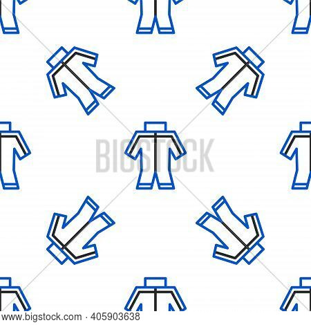 Line Wetsuit For Scuba Diving Icon Isolated Seamless Pattern On White Background. Diving Underwater
