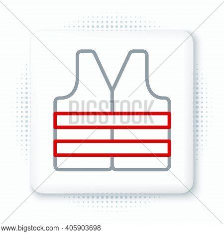 Line Life Jacket Icon Isolated On White Background. Life Vest Icon. Extreme Sport. Sport Equipment.