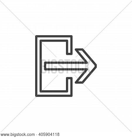 Exit Doorway Line Icon. Linear Style Sign For Mobile Concept And Web Design. Exit Way Outline Vector