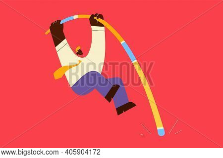 Challenge, Success, Risk Concept. Businessman Cartoon Character Jumping With Pole Vault To Achieve G