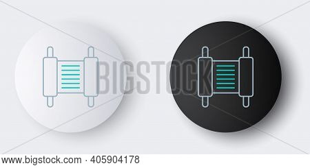 Line Torah Scroll Icon Isolated On Grey Background. Jewish Torah In Expanded Form. Star Of David Sym