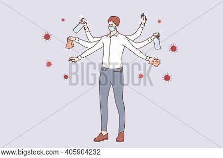 Protection From Coronavirus Covid-19 Infection Concept. Young Businessman In Medical Face Mask With