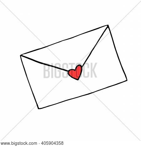 Simple Outline Drawing Of Love Letter. Hand Drawn Doodle. Vector Clipart, Design Element For Greetin