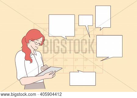 Time Management, Schedule, Planning Concept. Young Positive Businesswoman Planning Day Scheduling Ap