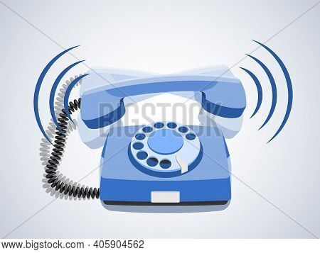 Phone Call, Vintage Rotary Telephone, Retro Phone, Old Wired Phone Handset. Vector Illustration