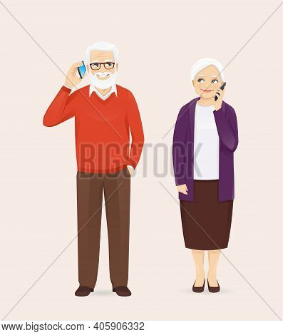 Mature Senior Couple In Casual Outfit Talking On The Phone. Old Man And Woman, Grandparents Isolated
