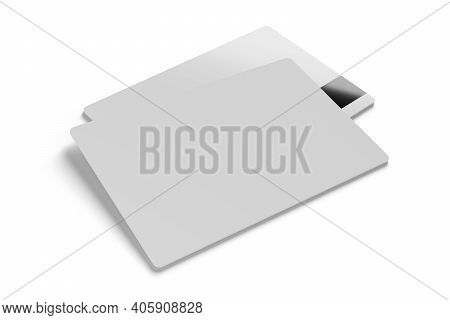 White Plastic Cards Isolated On White Background. Ticket, Discount, Business, Credit Card. 3d Render