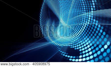Abstract black background. Digital art fractal graphics. Composition of glowing lines and mosaic halftone effects. 3d illustration.