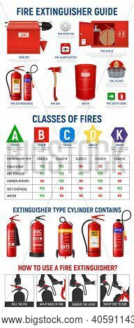 Fire Extinguisher Infographics With Realistic Images Of Extinguisher Cylinders And Fire-fighting App