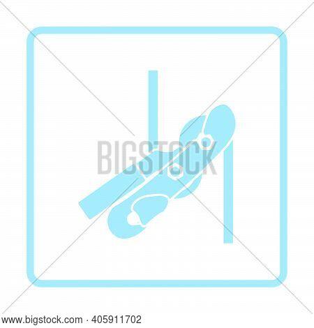 Alpinist Rope Ascender Icon. Blue Frame Design. Vector Illustration.