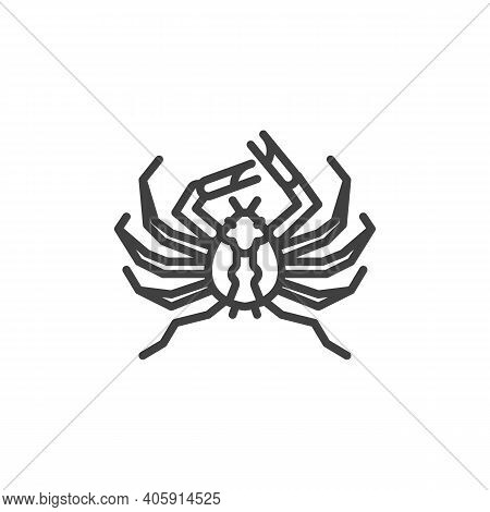 Giant Spider Crab Line Icon. Linear Style Sign For Mobile Concept And Web Design. Japanese Spider Cr