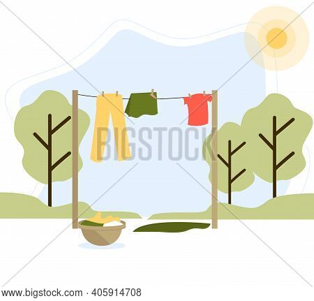 Things Are Drying On A Clothesline Outside In The Lovely Summer Landscape