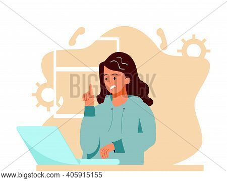 A Young Girl Communicates Via Skype With Employees, Colleagues, Classmates, Family Or A Psychologist