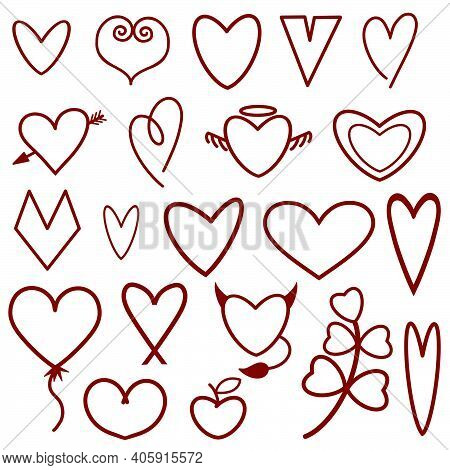 Schematic Illustration Of Silhouettes Of Hearts In Red, Vector