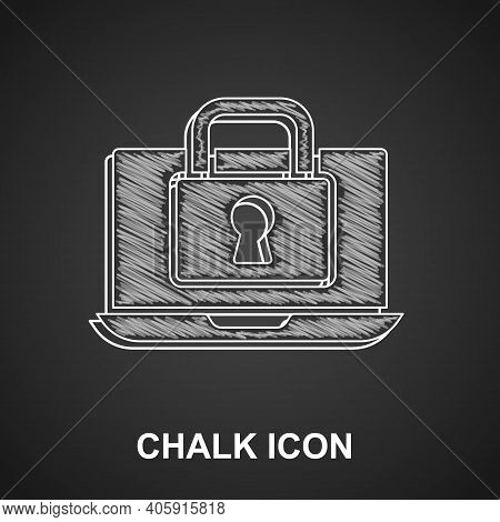 Chalk Laptop And Lock Icon Isolated On Black Background. Computer And Padlock. Security, Safety, Pro
