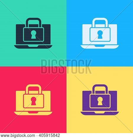 Pop Art Laptop And Lock Icon Isolated On Color Background. Computer And Padlock. Security, Safety, P