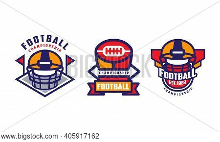American Football Championship Labels Set, Sport Game Tournament Retro Badges, School, College Leagu