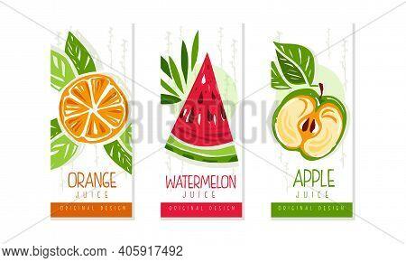 Fresh Fruit Juice Labels Set, Orange, Watermelon, Apple Juice Emblems, Packaging Design Templates Ca