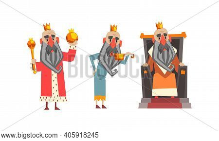 Funny King Character Set, Old Comic Bald Bearded King Wearing Gold Crown, Mantel In Various Actions
