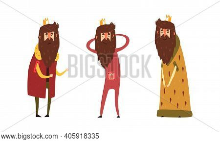 Funny King Character Set, Old Comic Bearded King Wearing Gold Crown And Mantel Cartoon Style Vector