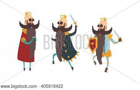 Funny Warlike King Character Set, Old Comic Bald Bearded King Wearing Gold Crown With Sword Cartoon