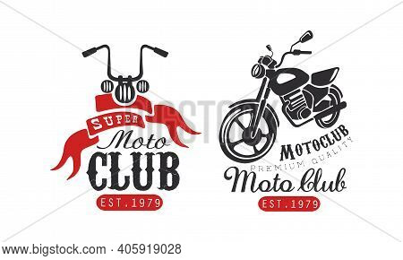 Super Moto Club Retro Logo Templates Set, Racer Club Premium Quality Badges With Classic Motorcycle