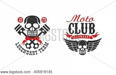 Moto Club Legendary Team Retro Logo Collection, Racer Club Vintage Badges Vector Illustration