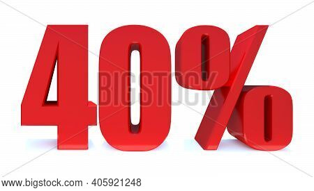 40 Percent Off 3d Sign On White Background, Special Offer 40% Discount Tag, Sale Up To 40 Percent Of