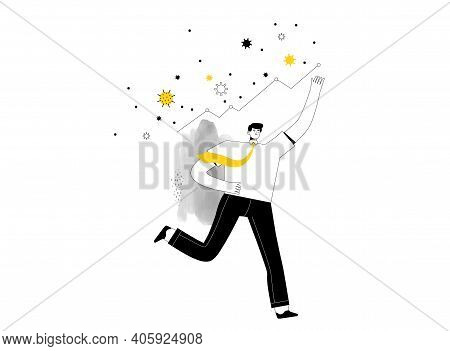 Happy Businessman Runs Along With His Business Statistics Rising. Profit Growth Concept Despite Coro