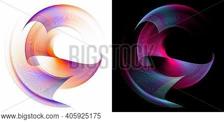 Rounded Wavy Colorful Planes Are Arranged In Layers, Rotate And Form A Frame On White And Black Back