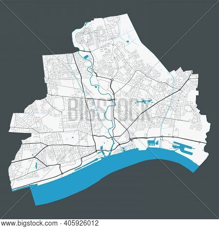 Kingston Upon Hull Map. Detailed Map Of Kingston Upon Hull City Administrative Area. Cityscape Panor