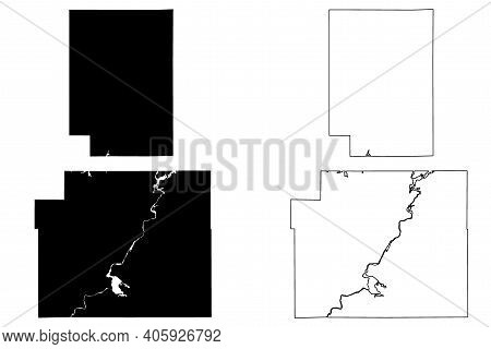 Chippewa And Clark County, State Of Wisconsin (u.s. County, United States Of America, Us) Map Vector