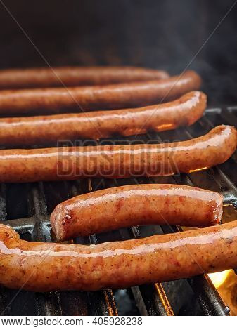 Smoked  Southern Sausages On A Grille Ready To Eat