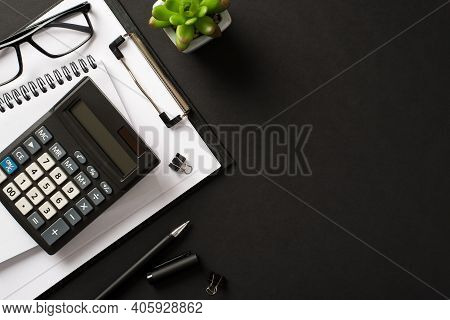 Bookkeepers Work Place Concept. Top Above Overhead View Photo Of Office Accessories Calculator Pen C