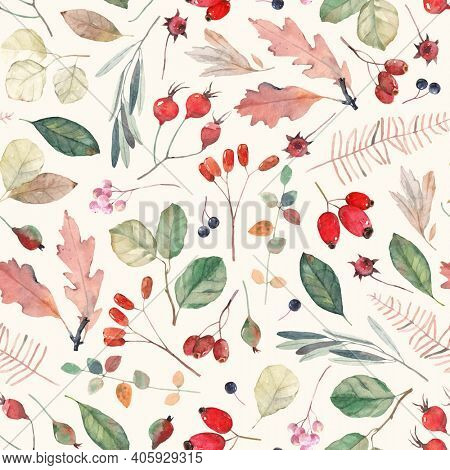 Watercolor pattern with leaves, berries and seeds. Vintage seamless pattern. Cute background for fabric, textile, wallpaper.